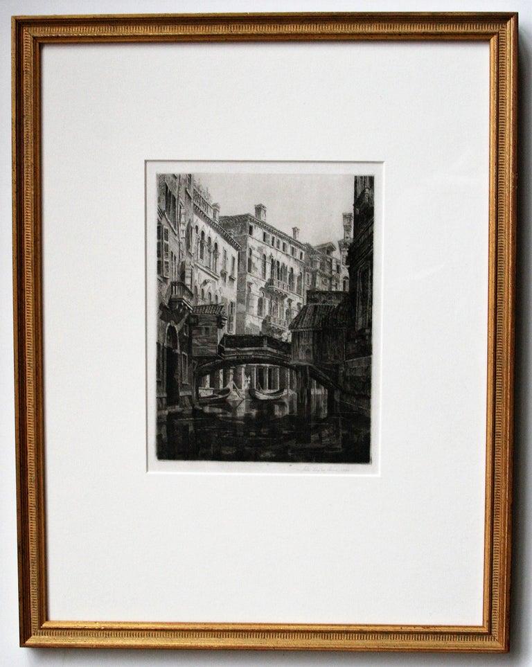 Rio del Santi Apostoli, Venice.  - Gray Landscape Print by John Taylor Arms
