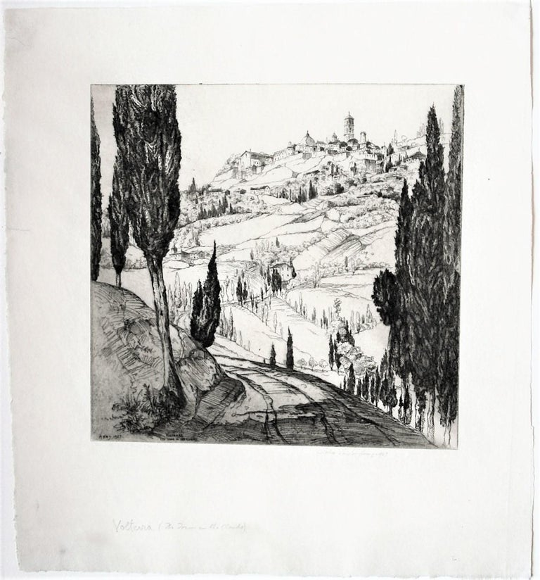1927. Etching. Fletcher 196. 7 15/16 x 8 1/4 (sheet 12 7/8 x 11 5/8). Edition 100. Italian series #12. Illustrated: Dorothy Noyes Arms, Hill Towns and Cities of Northern Italy, p. 30. A fine impression printed on 'FJ Head & Co' laid paper by