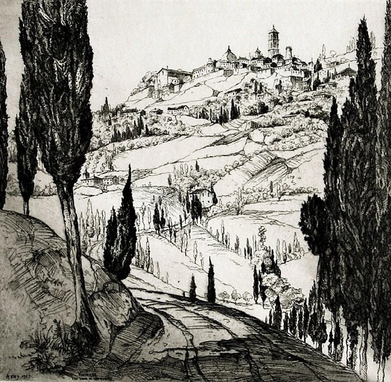 John Taylor Arms Figurative Print - Volterra. The Town in the Clouds.