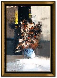 John Terelak Original Oil Painting On Board Signed Floral Still Life Framed Art