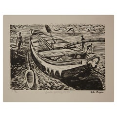 """Fanti Fishing Boat"" Abstract Figurative Woodblock Print Edition 36 of 86"