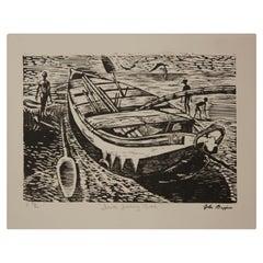 """Fanti Fishing Boat"" Abstract Figurative Woodblock Print Edition 36 of 86"