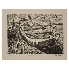 """Fanti Fishing Boat"" Modern Abstract Figurative Woodcut Print 47 of 86"