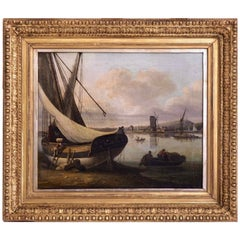 John Thomas Serres, Fine Harbour Painting, Signed, 19th Century