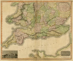 Antique map of the south of England by Thomson - Handcol. engraving - 19th c.