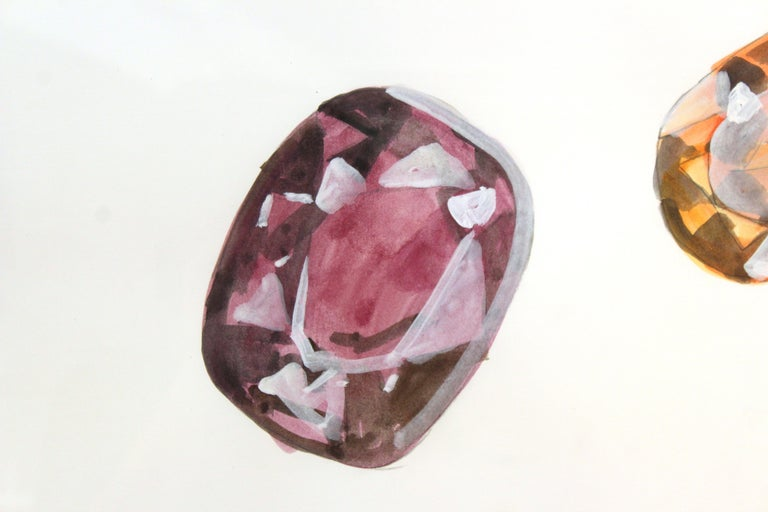 American John Torreano Modern Watercolor of Jewels, Signed For Sale