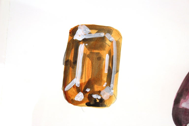 John Torreano Modern Watercolor of Jewels, Signed In Good Condition For Sale In New York, NY