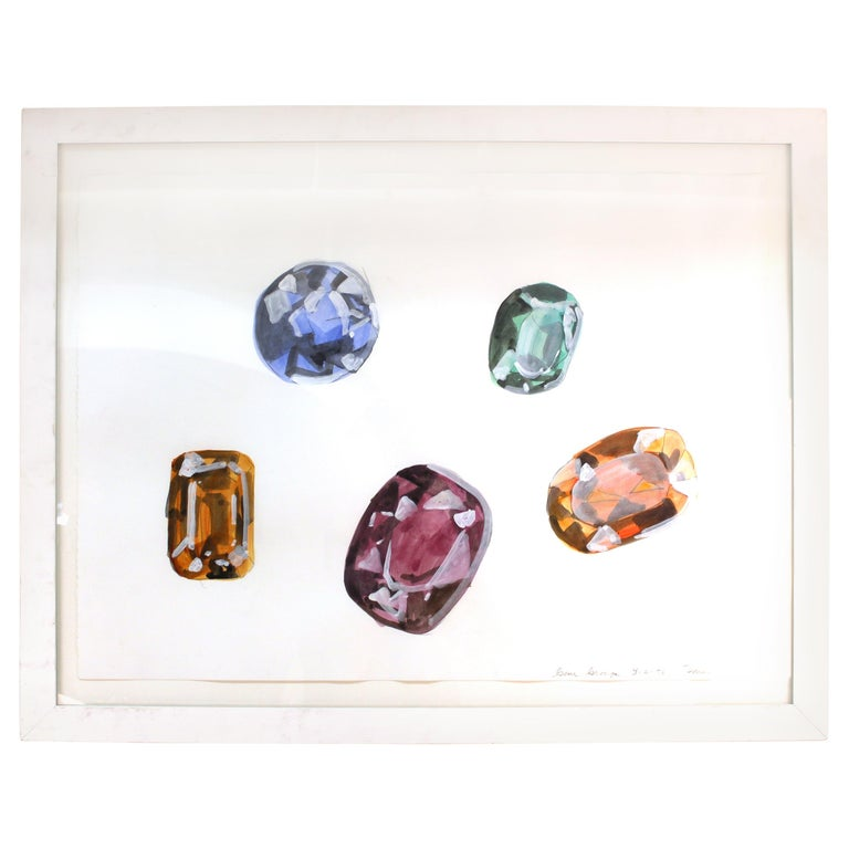 John Torreano Modern Watercolor of Jewels, Signed For Sale