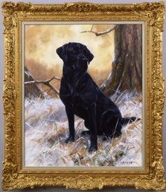 Dog portrait oil painting of a black labrador