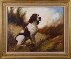 Dog portrait oil painting of a springer spaniel