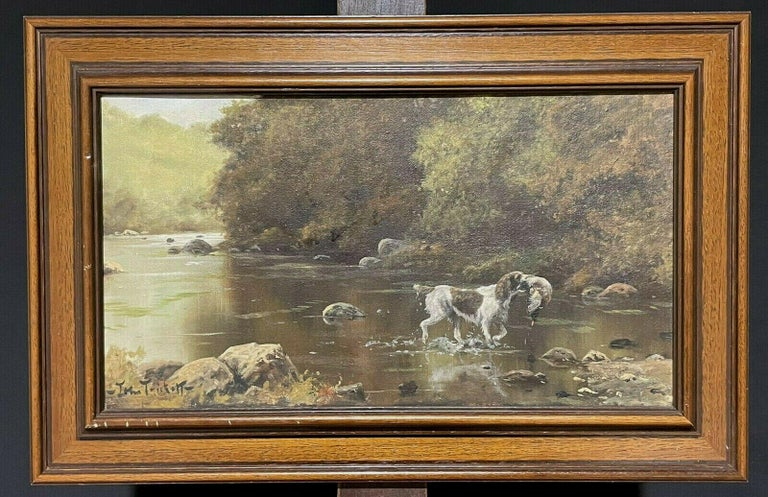 SIGNED ORIGINAL OIL - SPANIEL GUN DOG CARRYING GAME THROUGH RIVER LANDSCAPE - Painting by John Trickett