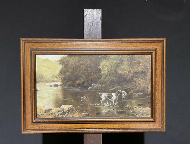 SIGNED ORIGINAL OIL - SPANIEL GUN DOG CARRYING GAME THROUGH RIVER LANDSCAPE - Impressionist Painting by John Trickett