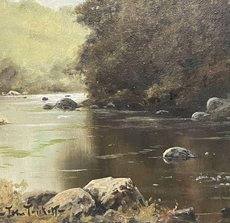 SIGNED ORIGINAL OIL - SPANIEL GUN DOG CARRYING GAME THROUGH RIVER LANDSCAPE - Gray Animal Painting by John Trickett