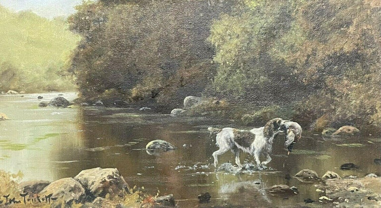 John Trickett Animal Painting - SIGNED ORIGINAL OIL - SPANIEL GUN DOG CARRYING GAME THROUGH RIVER LANDSCAPE