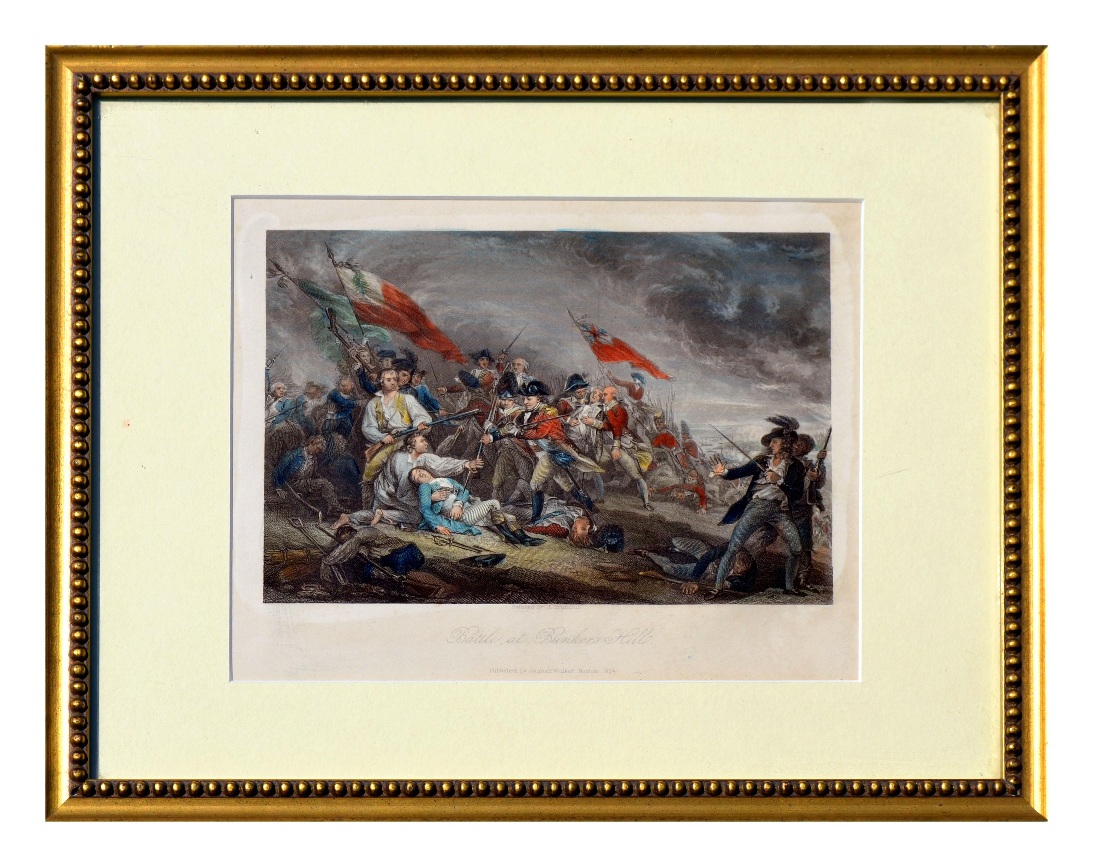 Battle at Bunker Hill - Hand Colored Engraving