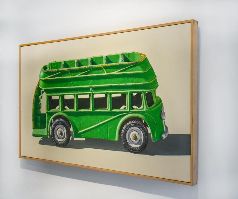 Green Bus (Vivid Realist Oil on Canvas of VW Van on White Background) - Contemporary Painting by John Tully Geyer