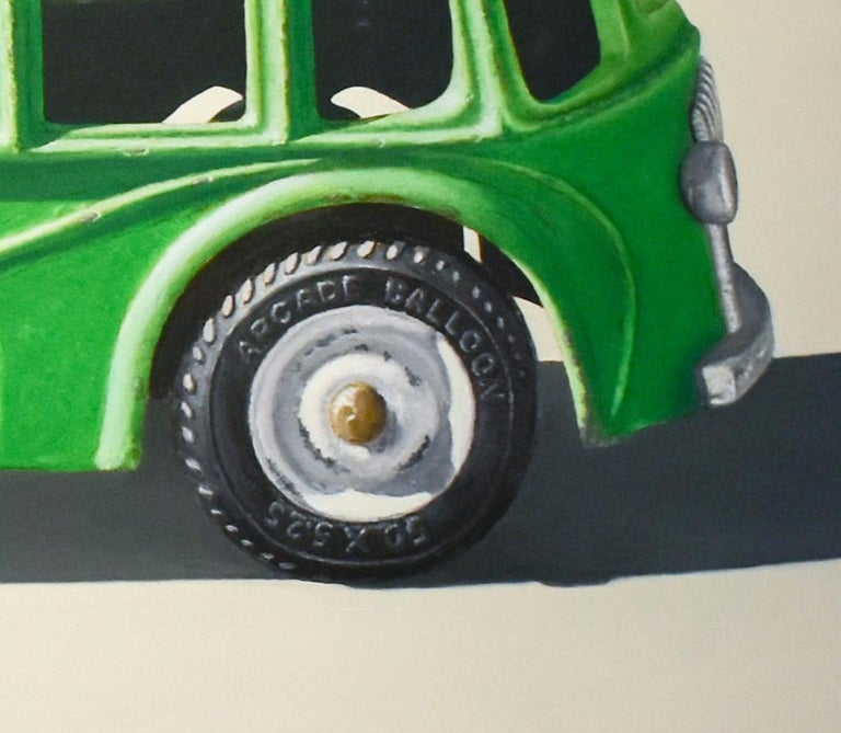 Green Bus (Vivid Realist Oil on Canvas of VW Van on White Background) - Beige Figurative Painting by John Tully Geyer