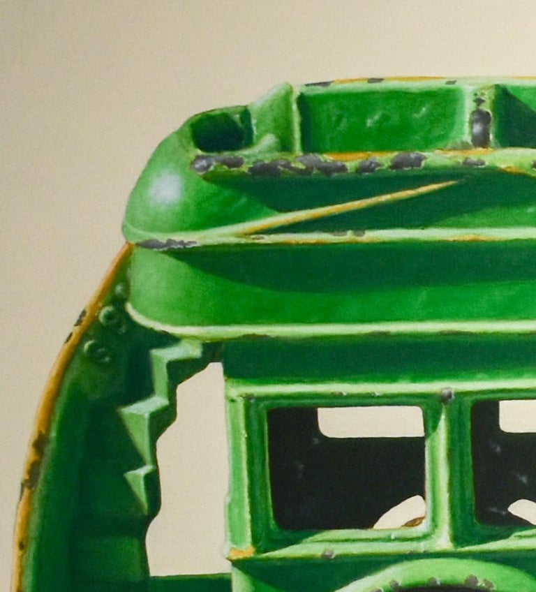 John Tully Geyer Green Bus, 2003 25.5 x 45 inches 26.5 x 46 x 1.5 inches in wooden frame  For those who appreciate realist painting, look no further than this wonderful nostalgic rendering of a VW Bus.  Geyer perfectly captures every single detail
