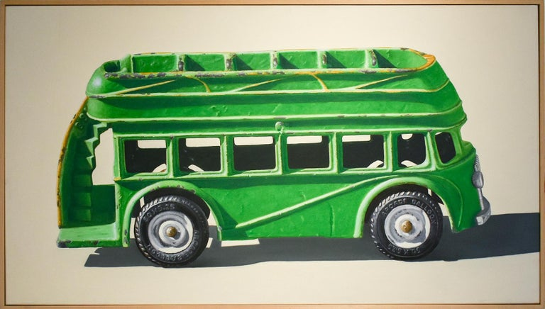 Green Bus (Vivid Realist Oil on Canvas of VW Van on White Background) - Painting by John Tully Geyer