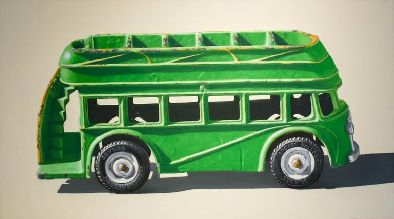 John Tully Geyer Figurative Painting - Green Bus (Vivid Realist Oil on Canvas of VW Van on White Background)