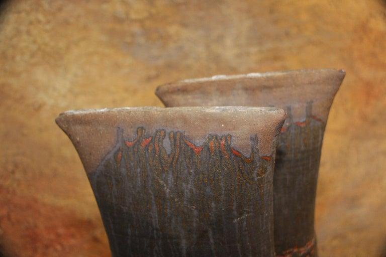 John Tuska Double Flute Pottery Vase For Sale 5