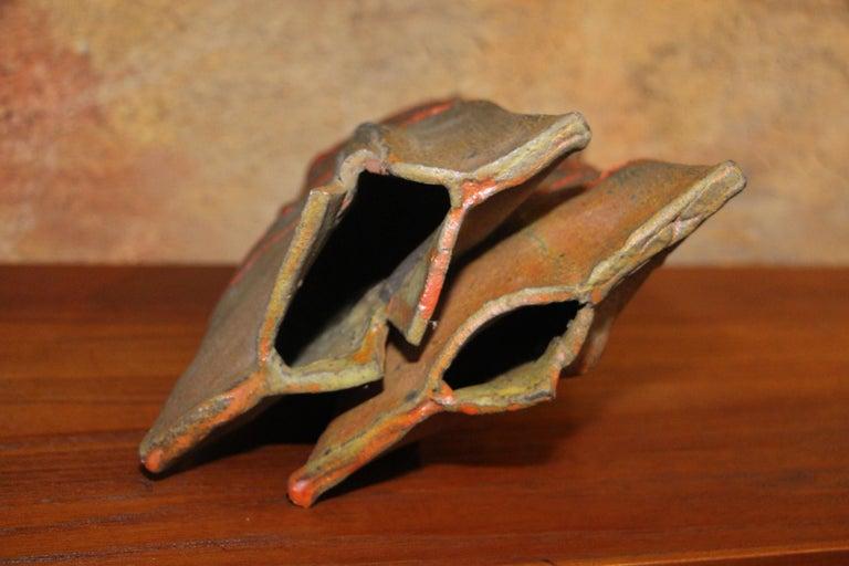 John Tuska Double Flute Pottery Vase For Sale 6