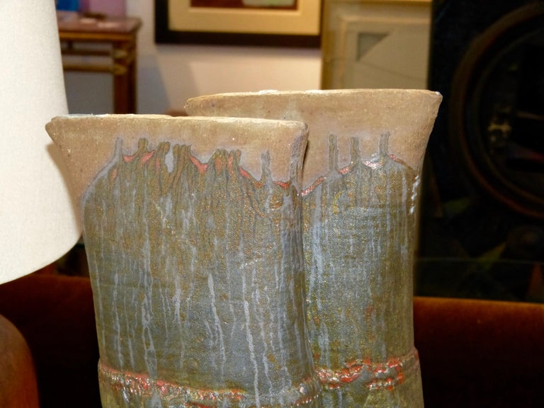 20th Century John Tuska Double Flute Pottery Vase For Sale