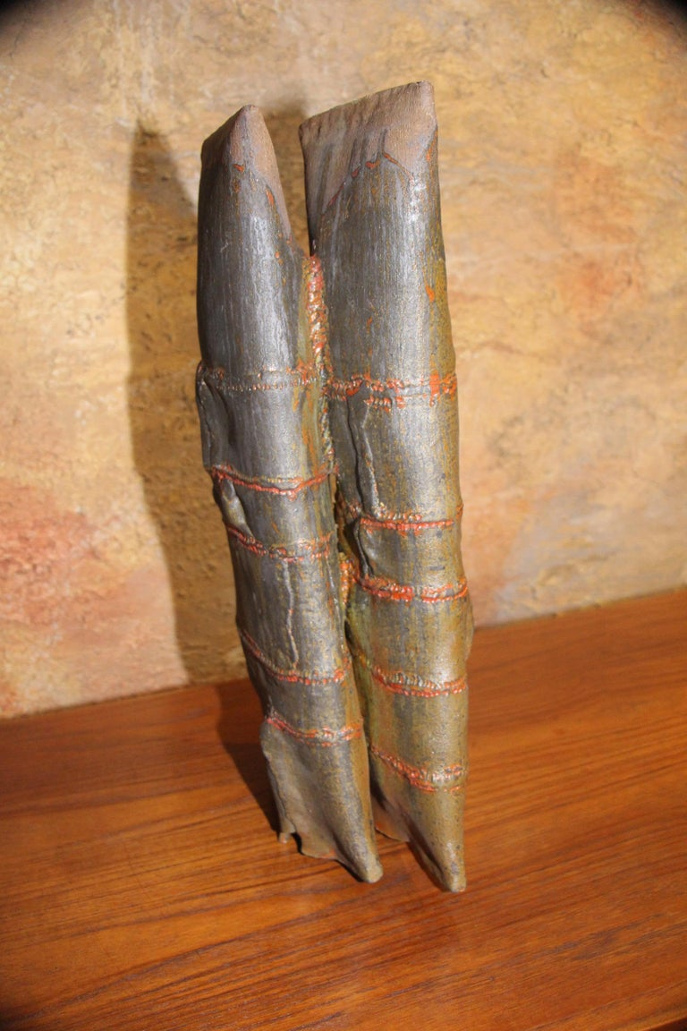 John Tuska Double Flute Pottery Vase For Sale 3