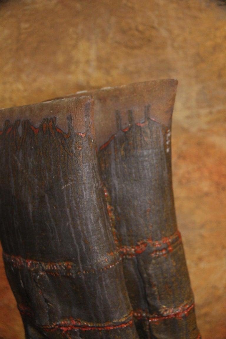 John Tuska Double Flute Pottery Vase For Sale 4