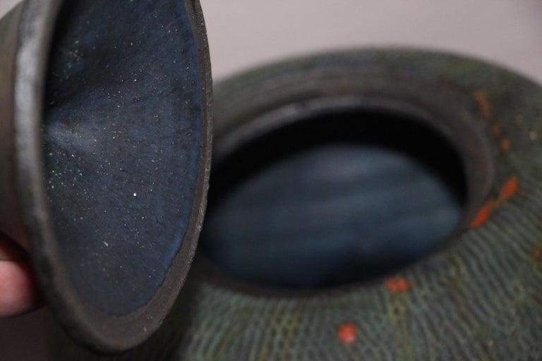 Fired John Tuska Lidded Stoneware Vessel For Sale