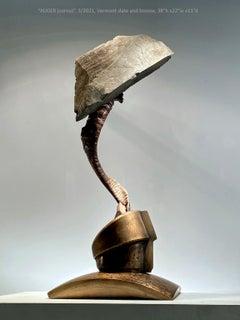 """AUGER (cornu)"", Industrial Abstract Sculpture in Metal & Stone"
