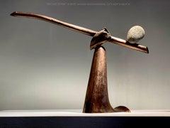 """""""BRONZE BEAM"""", Industrial Abstract Sculpture in Metal & Stone"""