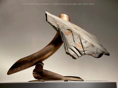 """""""IMPLEMENT (stout handle II)"""", Industrial Abstract Sculpture in Metal & Stone"""