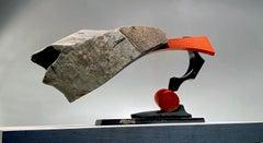 """LUNGE 2-20"", Industrial Abstract Sculpture in slate stone & steel metal"