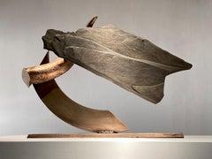 """LUNGE (cornu)"", Industrial Abstract Sculpture in Slate Stone & Bronze Metal"
