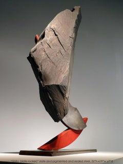 """QUILL II (Slate Rocker)"", Industrial Abstract Sculpture in Metal & Stone"