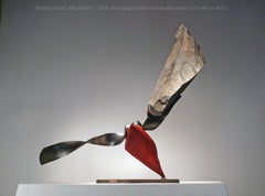 """""""RIVER LANDSCAPE (tailfin)"""", Industrial Abstract Sculpture in Metal & Stone"""