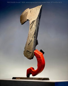 """ROCKSLIDE (Hook)"", Industrial Abstract Sculpture in Stone & Metal"