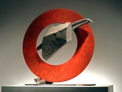 """""""SISYPHEAN CIRCLE XLV"""", Industrial Abstract Sculpture in Metal & Stone"""