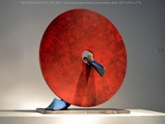 SISYPHEAN HOLIDAY 34, Abstract Sculpture, Stone, Metal, Steel, Industrial, Red