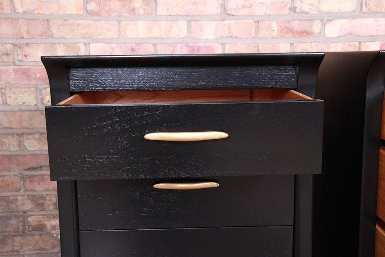 John Van Koert for Drexel Profile Mid-Century Modern Ebonized Nightstands, Pair For Sale 1