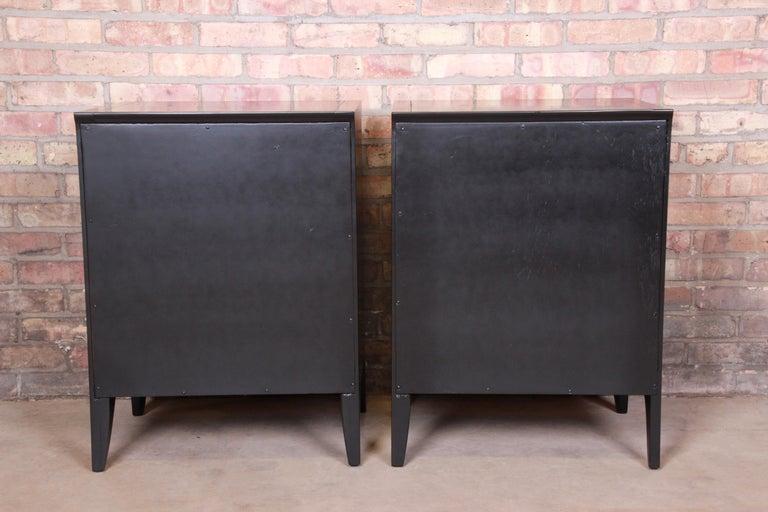 John Van Koert for Drexel Profile Mid-Century Modern Ebonized Nightstands, Pair For Sale 2