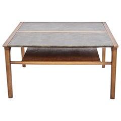 John Van Koert Leather Wrapped Oak Two-Tier Coffee Table