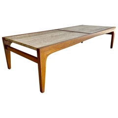 John Van Koert Model K96 Walnut and Travertine Coffee Table for Drexel