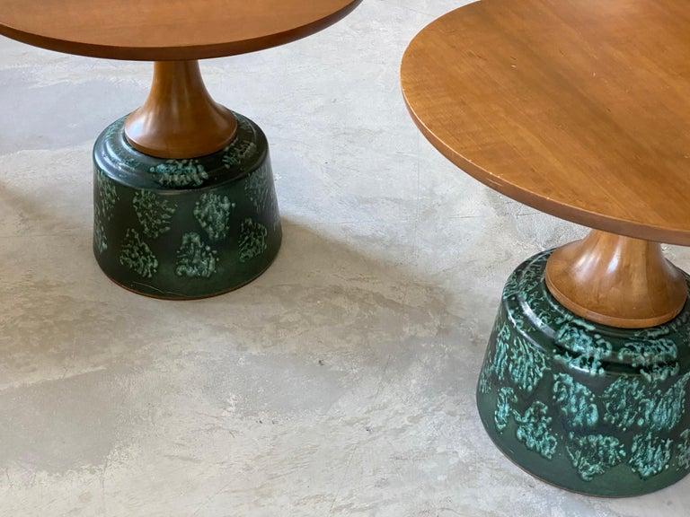 Mid-Century Modern John Van Koert, Side Tables, Cherrywood, Glazed Ceramic, Drexel, America, 1956 For Sale