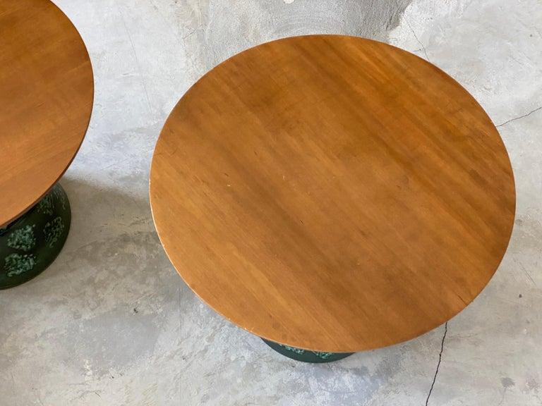 American John Van Koert, Side Tables, Cherrywood, Glazed Ceramic, Drexel, America, 1956 For Sale