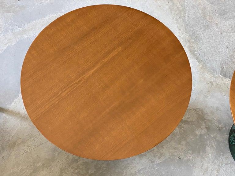 John Van Koert, Side Tables, Cherrywood, Glazed Ceramic, Drexel, America, 1956 In Good Condition For Sale In West Palm Beach, FL