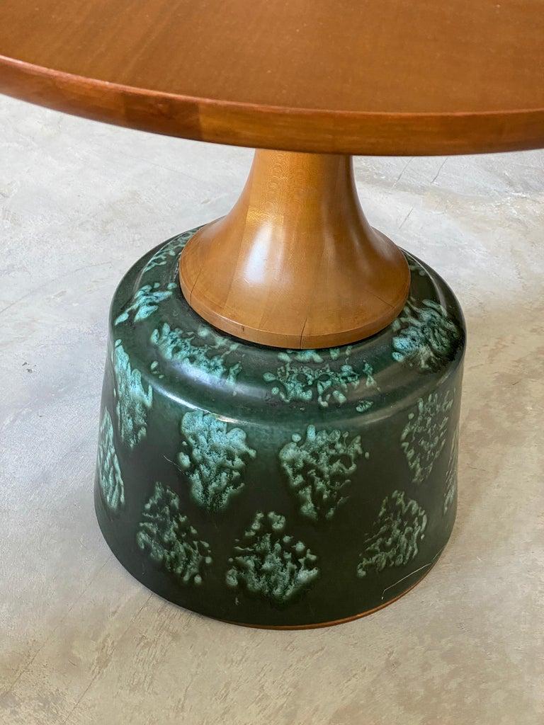 Mid-20th Century John Van Koert, Side Tables, Cherrywood, Glazed Ceramic, Drexel, America, 1956 For Sale