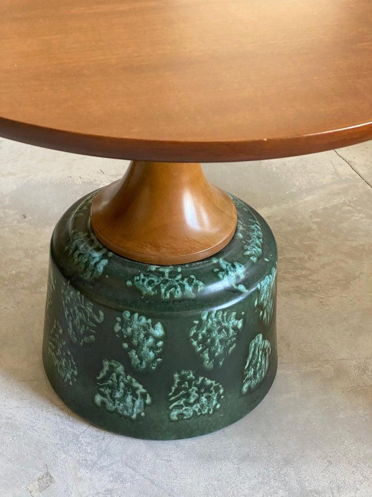 John Van Koert, Side Tables, Cherrywood, Glazed Ceramic, Drexel, America, 1956 For Sale 1