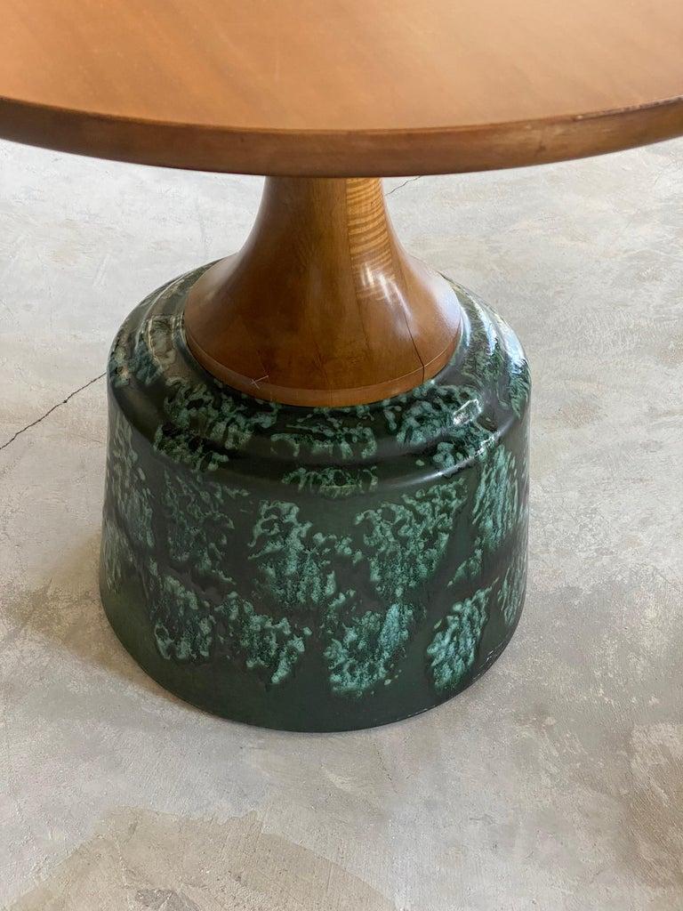 John Van Koert, Side Tables, Cherrywood, Glazed Ceramic, Drexel, America, 1956 For Sale 2
